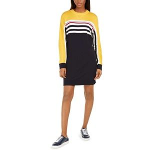 Striped Colorblocked Sweater Dress